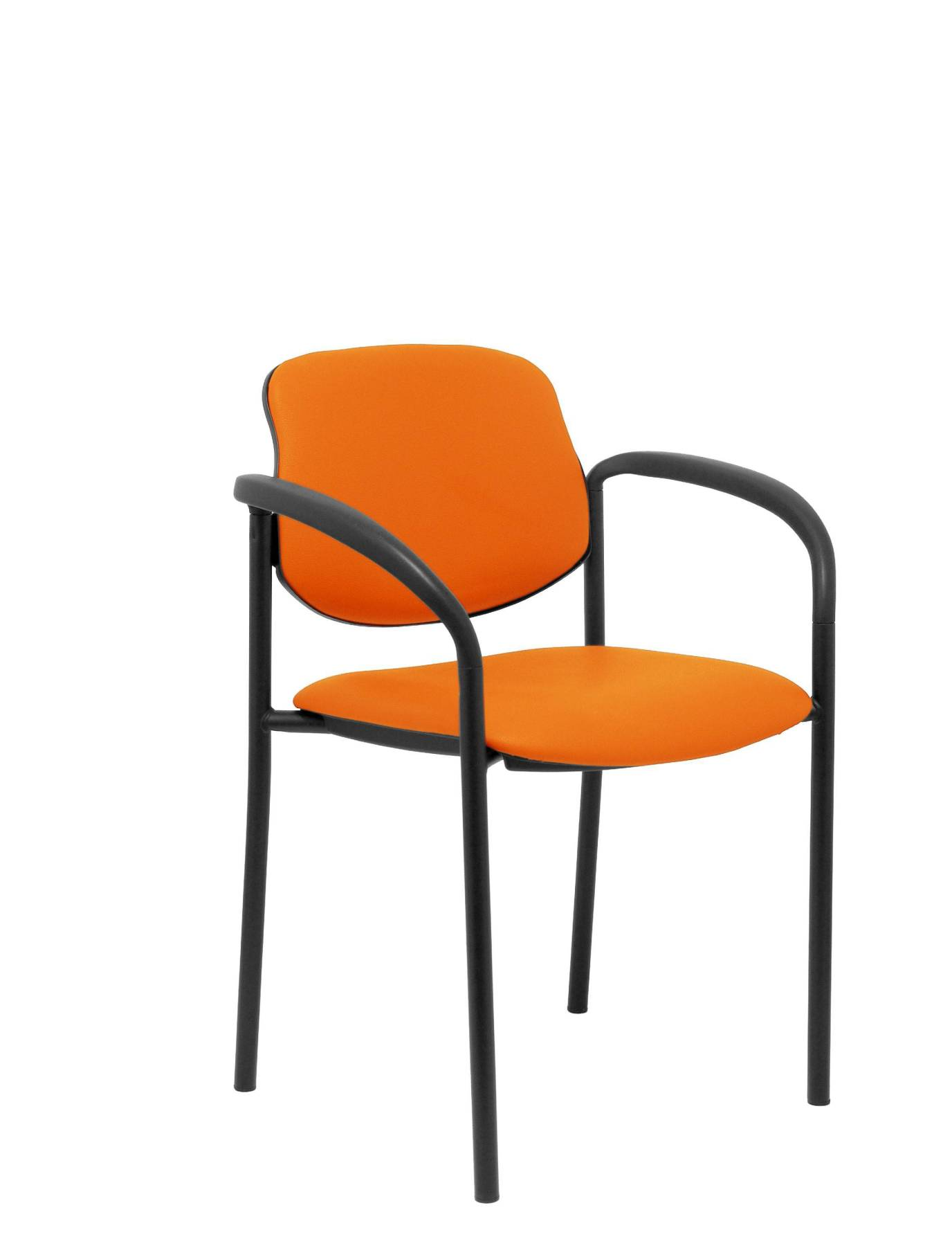 Visitor Chair 4's Topsy, With Arms And Estructrua Negro-up Seat And Backstop Upholstered In Tissue Similpiel Orange PI