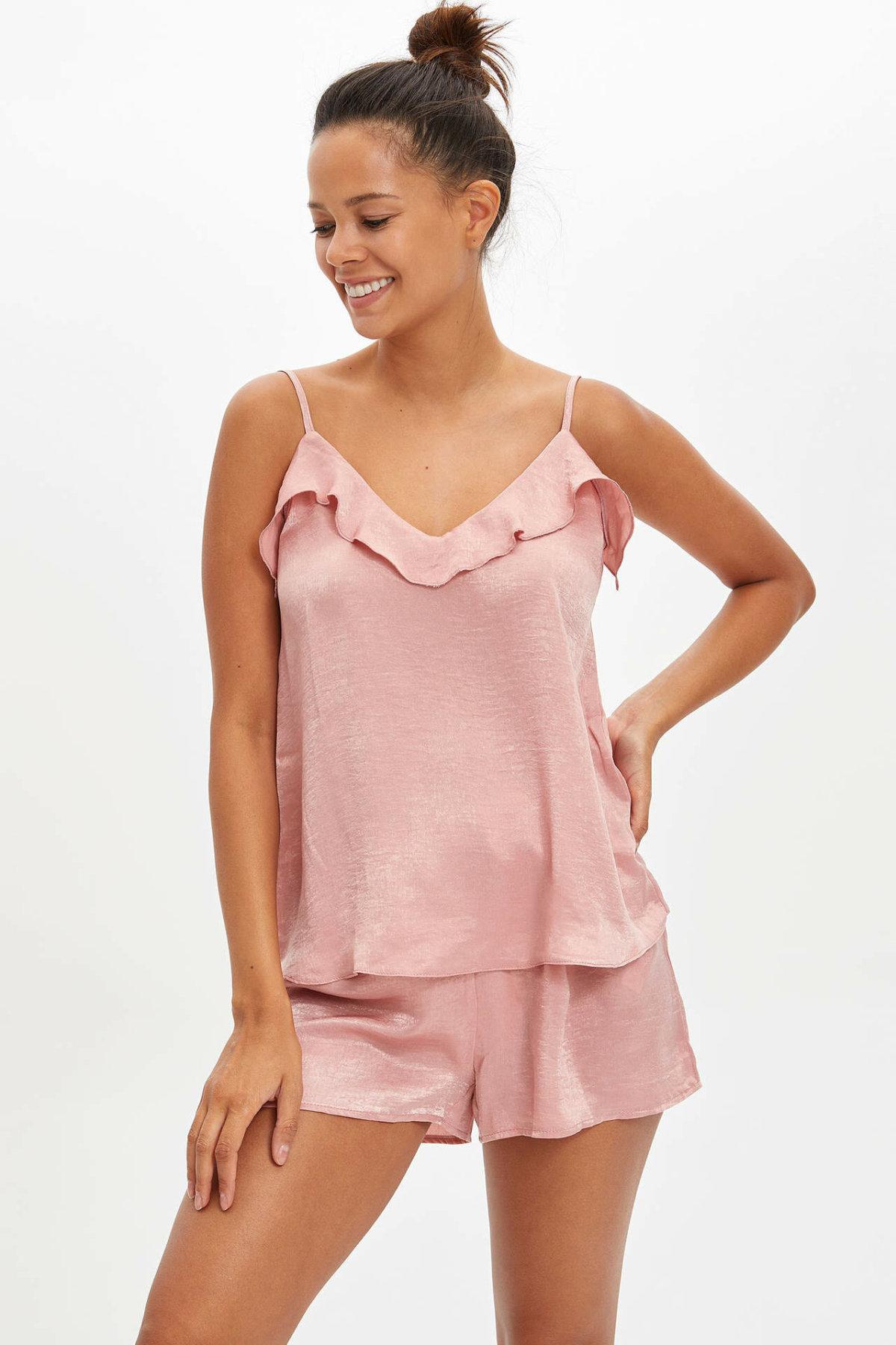 DeFacto Women Summer Pink Pajamas Set Women Sexy Homewear Sets Female Casual Tank Tops Shorts Set-M2909AZ19HS