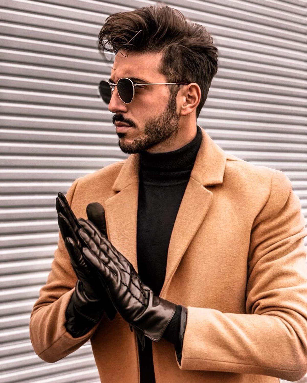 Harssidanzar Men Gloves Genuine Sheepskin Leather Gloves Vintage Finished Warm Cashmere Lined  Winter Gloves