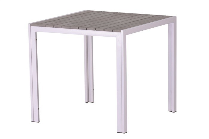 Table PLAYAMAR, White, Polywood Gray, 80x80 Cms