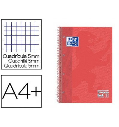 SPIRAL NOTEBOOK OXFORD EBOOK 1 TOP EXTRADURA DIN A4 + 80 H GRID 5 MM CHORAL TOUCH 5 PCs