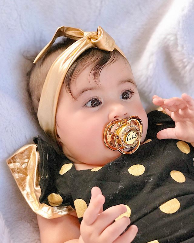 BLING BABY Bling Custom Gold Colorful Pacifier And Pacifier Clips Set BPA Free Silicone Chupeta Bling Dummy For Baby P8