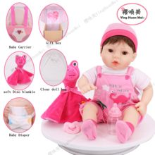 YingHuan Mei16'' inch Baby Carrier Girl Reborn baby Christmas gifts set with soft pink Dino plush and baby bottle and pacifi(China)