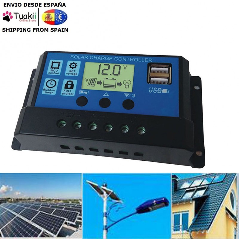 Solar Panel Controller 30A Charge Controller Battery 12V/24V Dual Usb