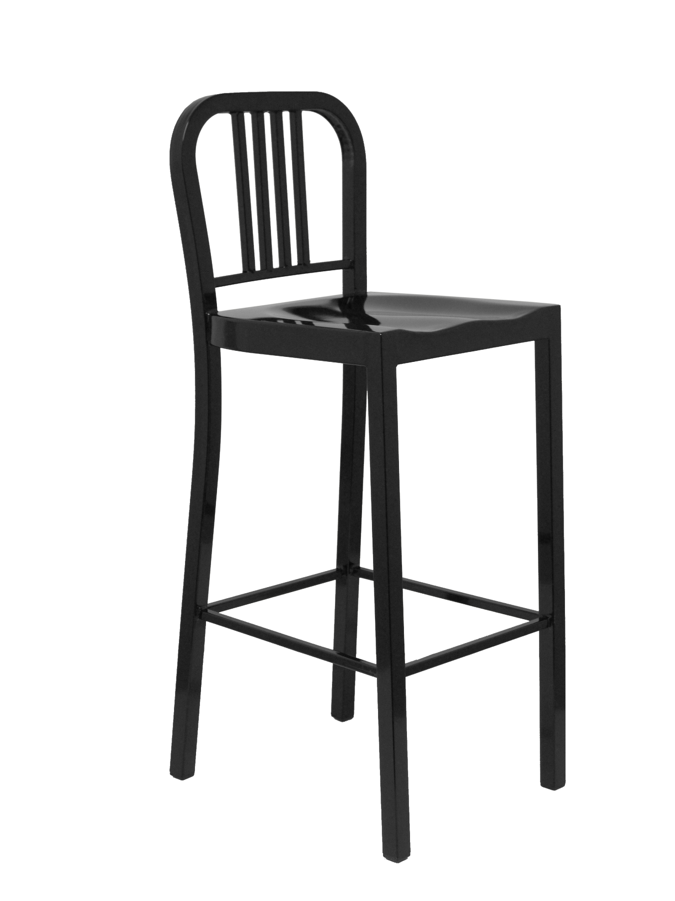 Barroom Stool Fixed 4-leg With Footrest, Made In Steel Color Black PIQUERAS & CURLED Model Uclés