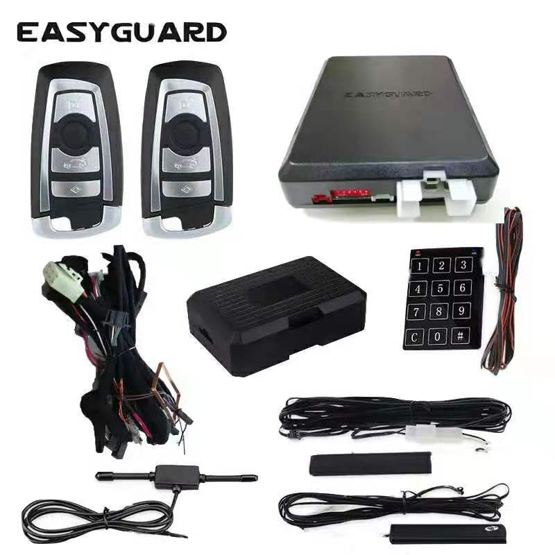 EASYGUARD CAN BUS style PKE kit fit for BMW plug and play easy DIY installation PKE car alarm with remote start Stop push button