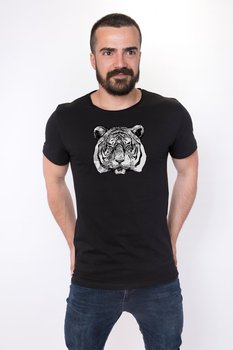 Angemiel Wear Lineal Tiger Cotton Black Male T-Shirt image