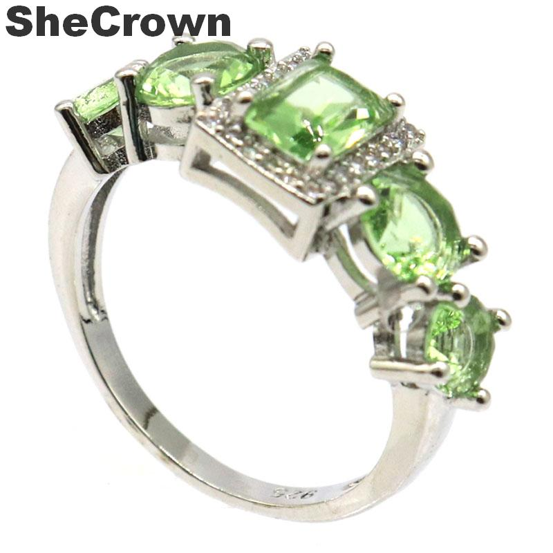 26x10mm Beautiful Created Green Tsavorite Garnet CZ Gift For Sister Silver Rings
