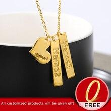Пару пользовательских ожерелье Nemeplate с сердцем для семьи два подвеска имя персонализированные высокое качество подарок