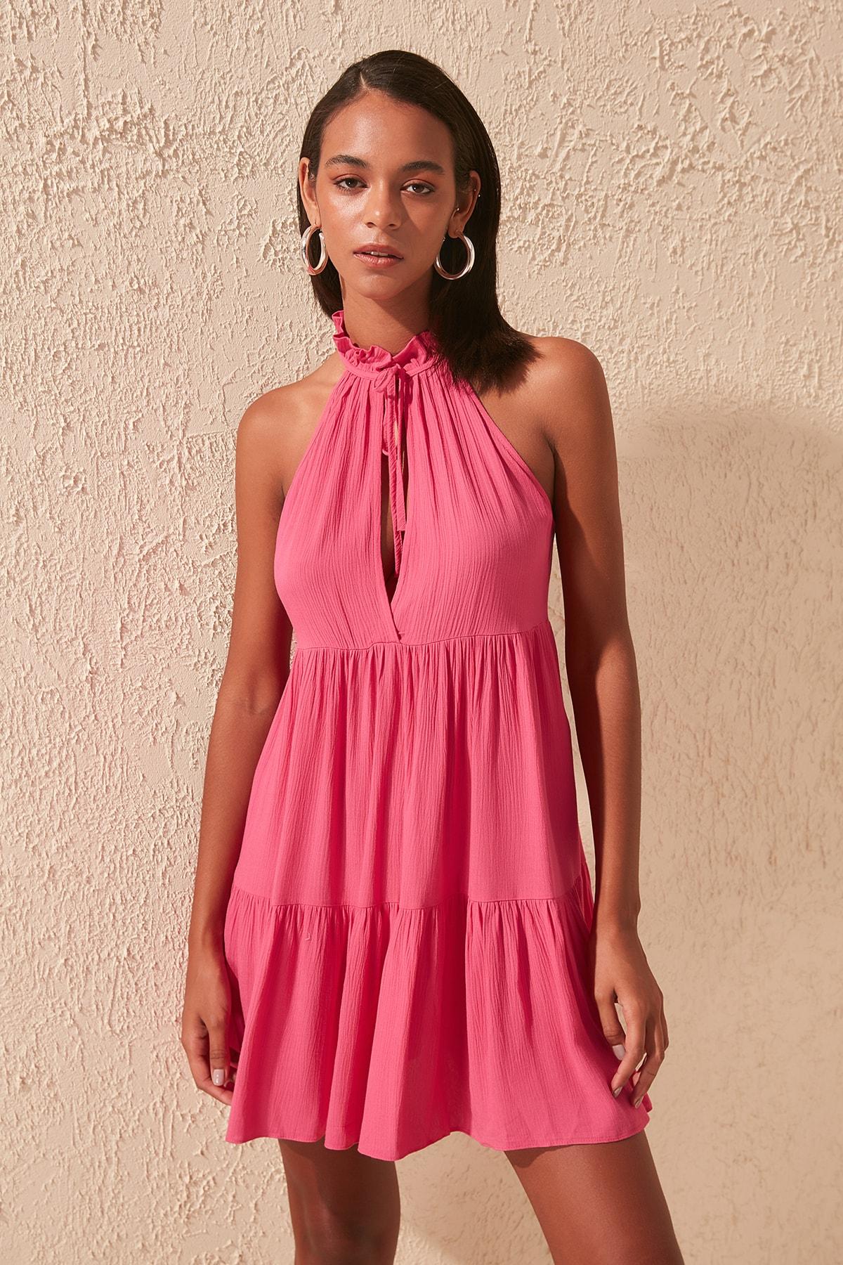 Trendyol Fuchsia Viscose Dress TBESS20EL0842