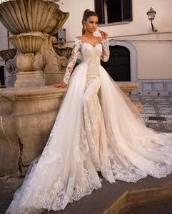 Image 2 - Женское свадебное платье с юбкой годе, кружевное платье невесты со съемной юбкой, аппликацией и длинным рукавом, на пуговицах сзади, 2020