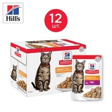 Влажный корм Hill's Science Plan для взрослых кошек для жизненной энергии и иммунитета, пауч с говядиной в соусе, 85 г*12