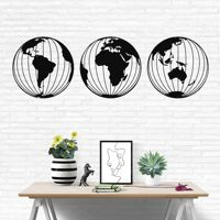 Three Metal World Map Globes, Round Metal World Map Wall Art, Metal Wall Decor, Metal Sign, Home Office Decoration, Wall Hanging