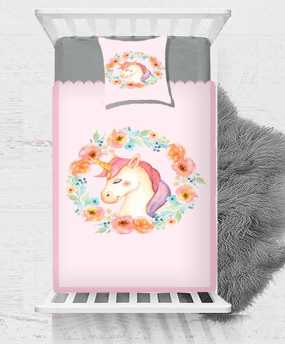 Autre rose licorne chevaux fleurs rondes 2 pièces impression 3D coton Satin couvre-lit unique couvre-lit cadeau combiner taie d'oreiller