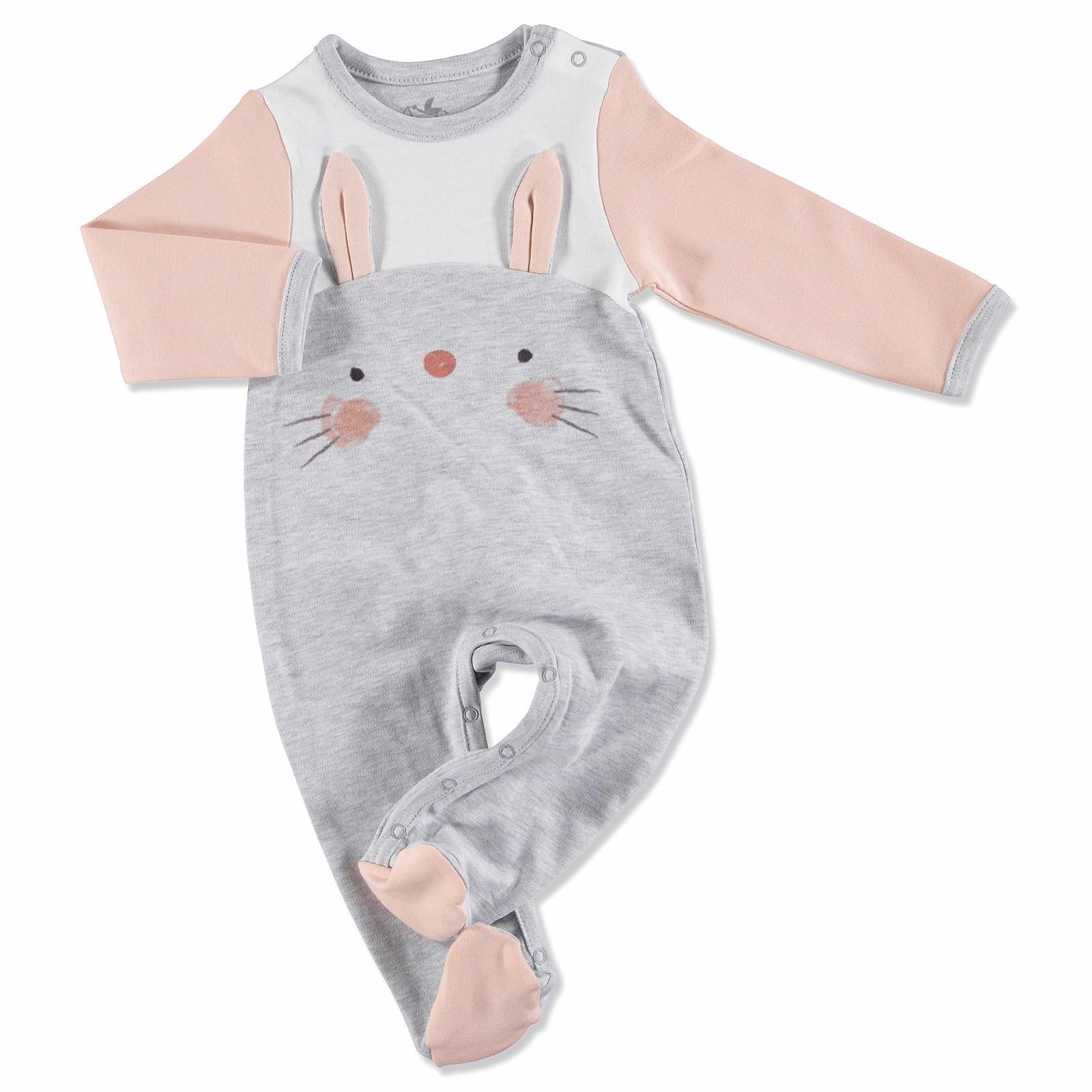 Ebebek Newborn Fashion Club My Bunny Friend Baby Footed Romper