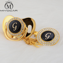 MIYOCAR beautiful bling pacifier and clip set name Initials letter G unique BPA free dummy design LG