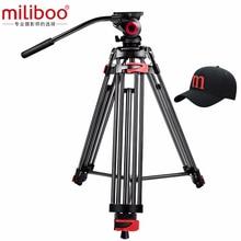 """Miliboo MTT602A מקצועי נייד אלומיניום נוזל ראש מצלמה חצובה למצלמת וידאו/DSLR Stand וידאו חצובה 76 """"מקס גובה"""