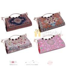 Bolso turco tradicional auténtico con diseño de alfombra de estilo Vintage, bolso de hombro cruzado para chicas adolescentes
