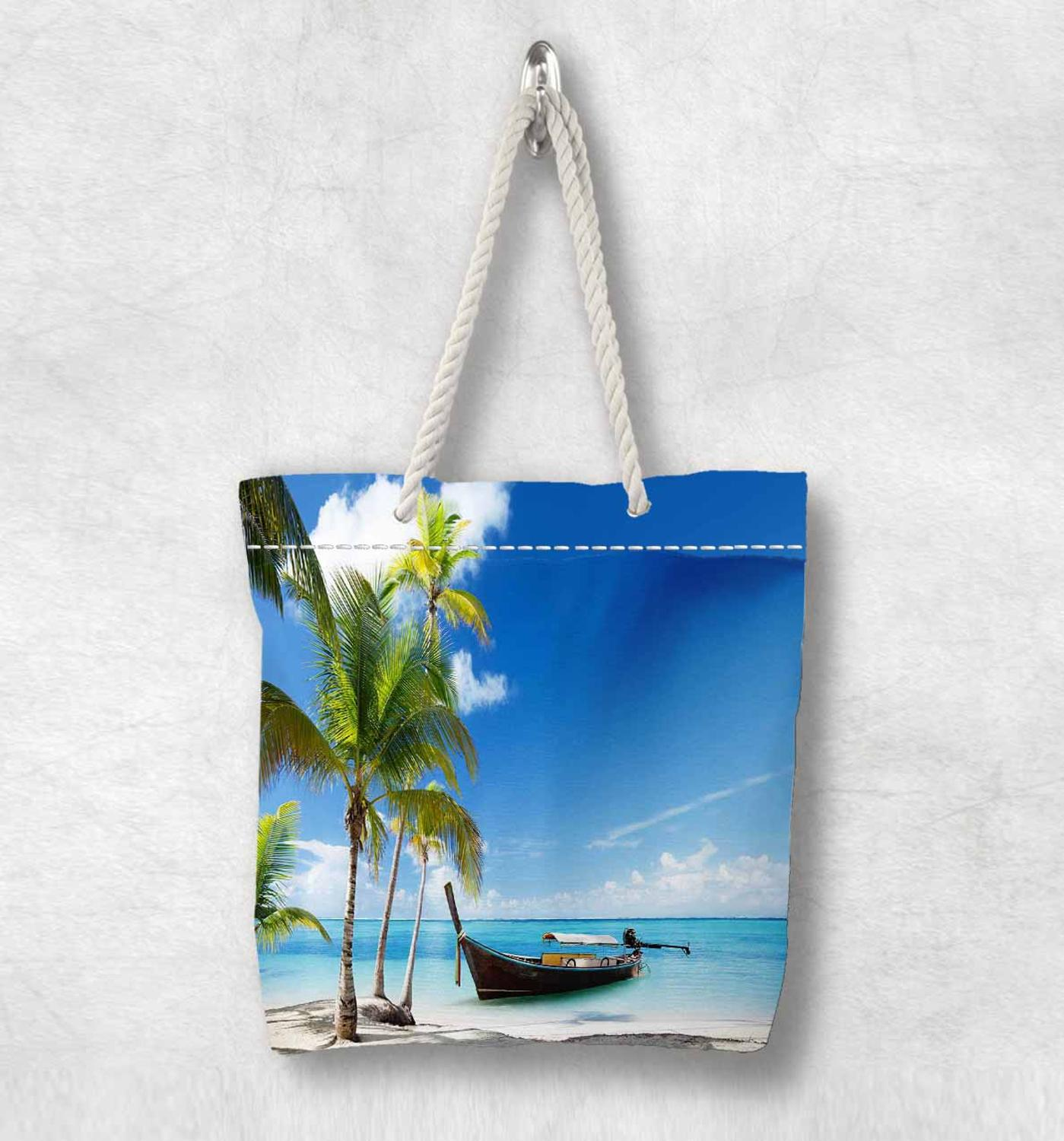 Else Green Palm Trees Tropical Beach Sand New Fashion White Rope Handle Canvas Bag Cotton Canvas Zippered Tote Bag Shoulder Bag