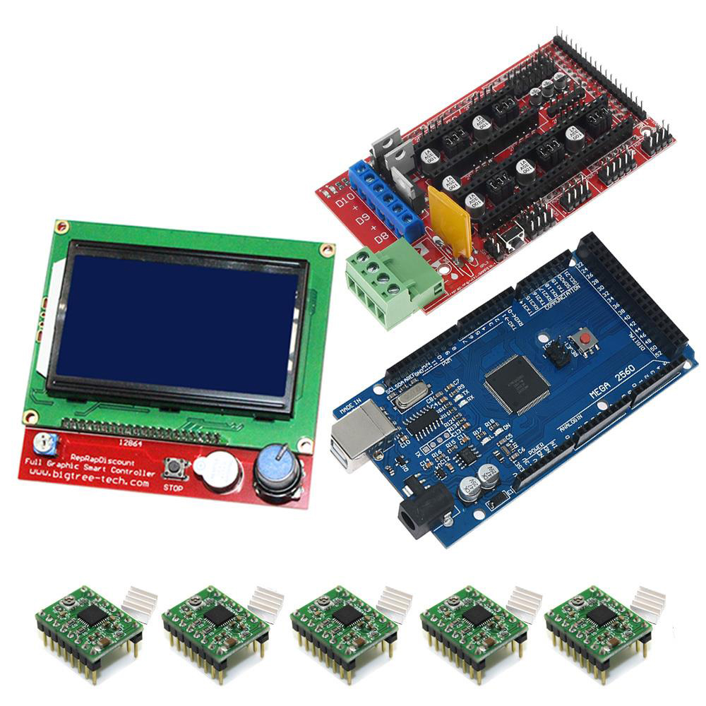 For arduino Mega 2560 R3 RAMPS 1.4 Controller A4988 Stepper Driver Module 12864 LCD controller for 3D Printer Part kit with USB image