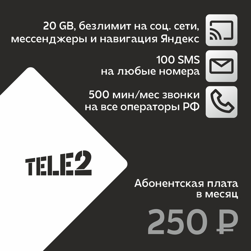 Тариф Теле5 за 250руб/месяц 500 мин по РФ, 20гб интернет, безлимит соцсети подходит для xiaomi