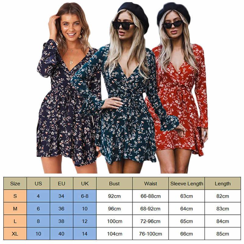 Femmes automne à manches longues Sexy Mini robes fleur dames décontracté col en v courtes robes d'été 2020