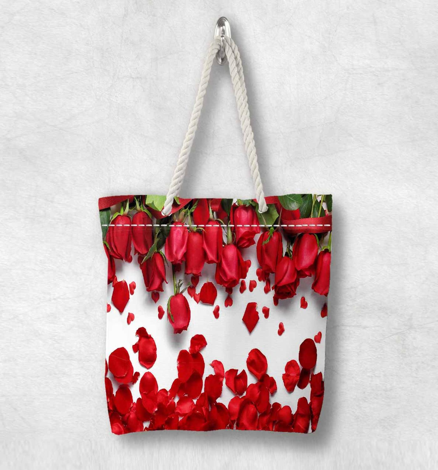 Else Red Romantic Roses Flowers Floral New Fashion White Rope Handle Canvas Bag Cotton Canvas Zippered Tote Bag Shoulder Bag