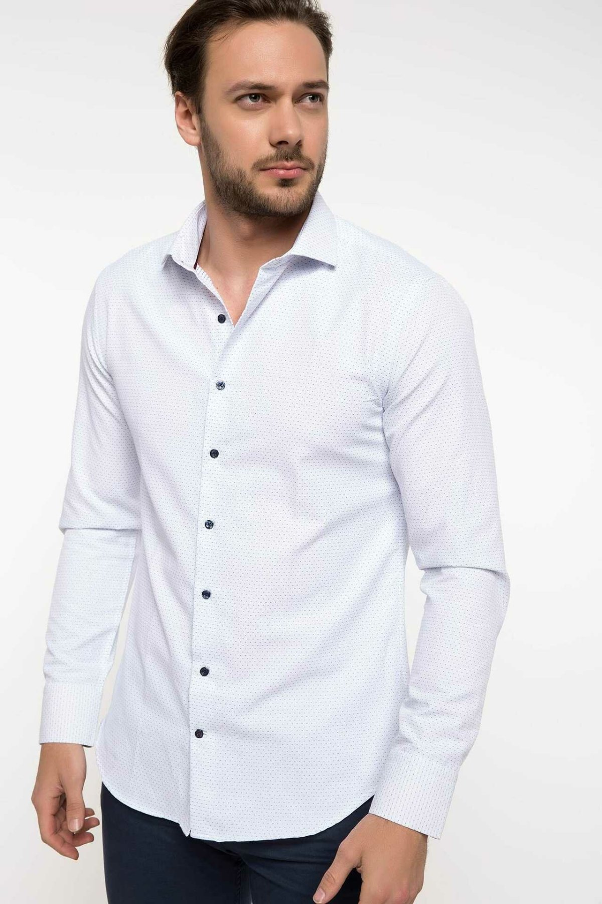 DeFacto Men Formal White Shirt Casual Woven Top Long Sleeve Shirt Office Business Wear Top Shirt New - I1148AZ18SP