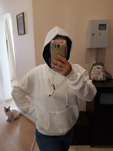 Toyouth Hooded Sweatshirts Women Autumn Winter Fleece Hoodie Letter Embroidery Solid Color Loose Tracksuit With Pocket photo review