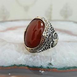 خاتم رجالي من الفضة الإسترليني 925 حجر عقيق