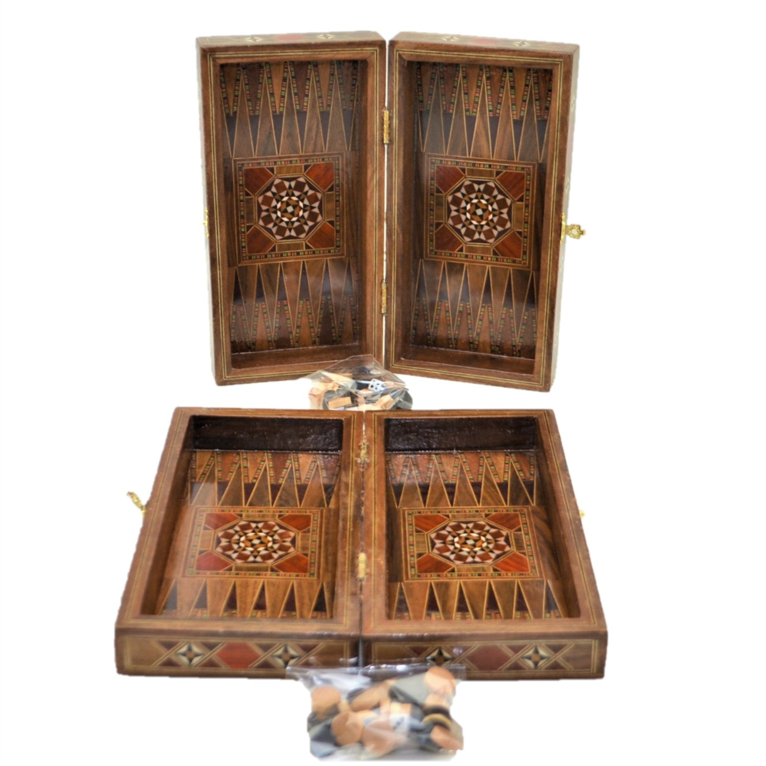 Vintage Game Set Handmade Motif Natural Solid Wooden Backgammon, Chess Board, Checkers Sets For Kids And Adults Small Size
