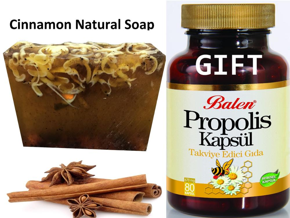 Anti Acne Cinnamon Natural Handmade Soaps 100 Gr+Gift Food SUPLEMENT Herbal Health Care Supplement PROPOLIS 80 Capsules