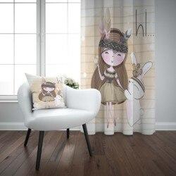 Khác Nâu Bohemian Cô Gái Với Thỏ Động Vật 3D In Hình Trẻ Em Bé Trẻ Em Cửa Sổ Bảng Điều Khiển Bộ Màn Kết Hợp Gối Quà Tặng Ốp Lưng