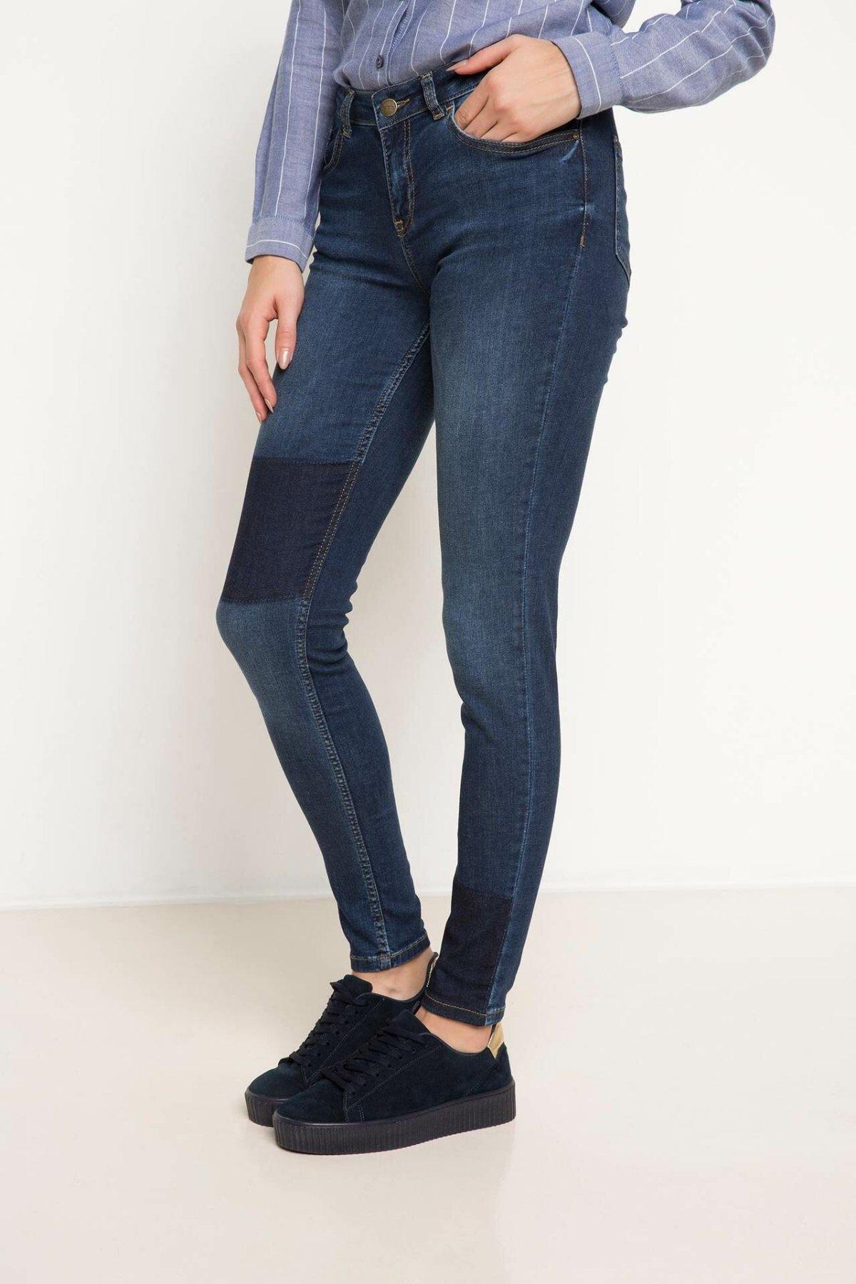 DeFacto Blue Lady Skinny Jeans Denim Simple Mid-waist Denim Stretch Casual Denim Jeans Pencil Trousers-H8518AZ17AU-H8518AZ17AU