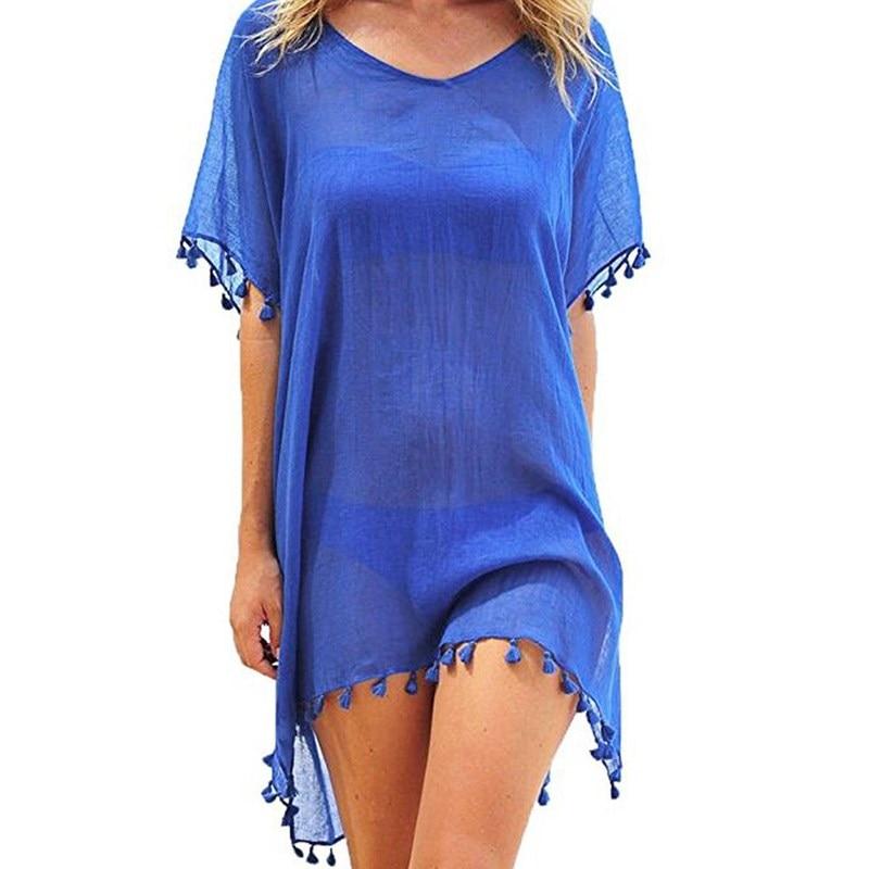 Uf1859766b50a4e58acd9e400fe432ffaJ Hirigin 2019 New Tassels Chiffon Beach Wear Swimsuit Cover Up Pareo Cap Swimwear Swimsuits Summer Mini Dress Loose Solid Ups