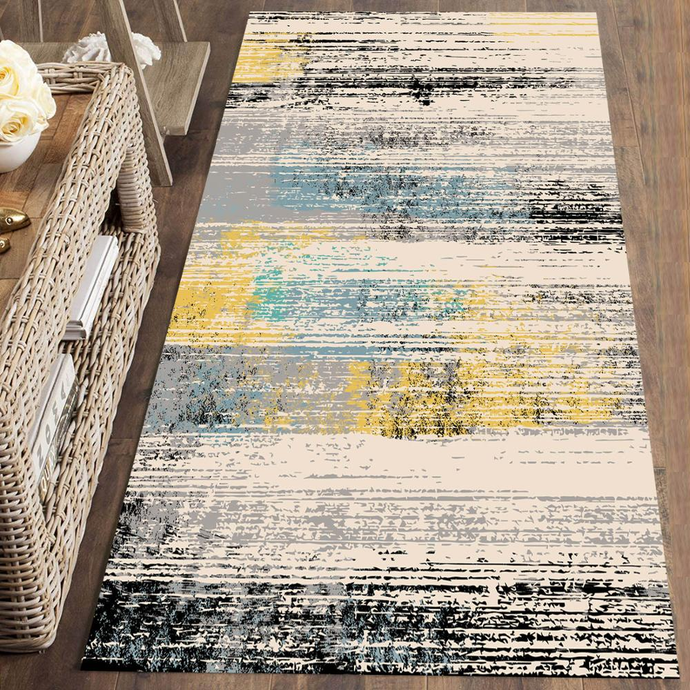 Else Gray Yellow Watercolor Splashes Nordec 3d Print Non Slip Microfiber Washable Long Runner Mat Floor Mat Rugs Hallway Carpets