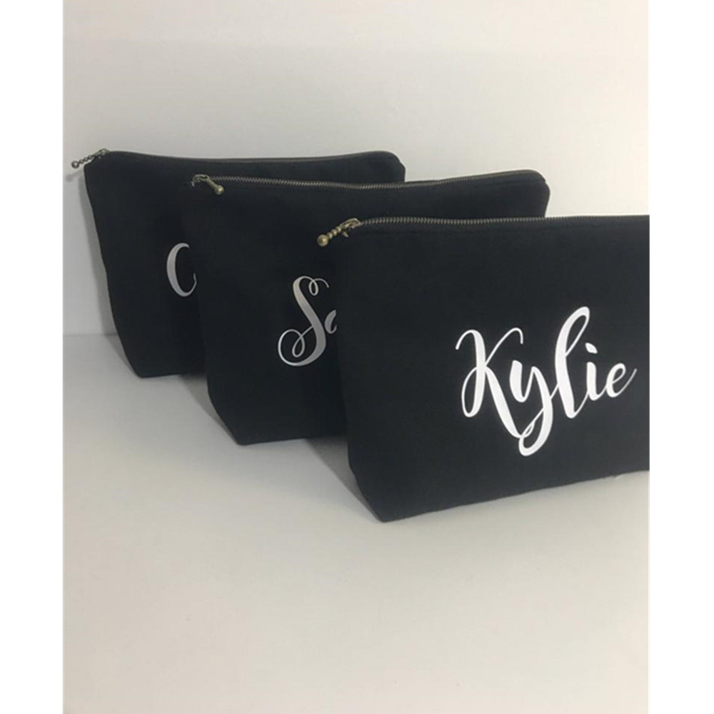 Maid of Honor Makeup Bag, Custom canvas Bridesmaid Cosmetic Bags, wedding thank you Gift, bridal party Toiletry Bag, Name Pouch