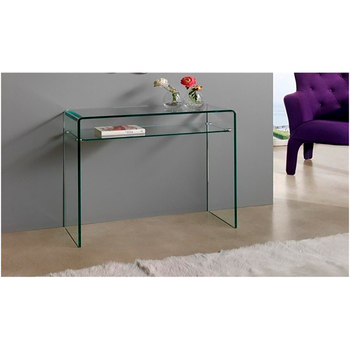Minimalist design console made entirely of curved glass with transparent finish and bottom shelf free shipping free shipping pop design white murano glass lamp