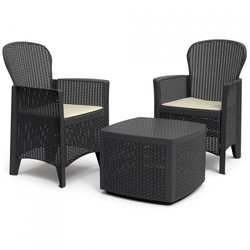 Set Square Table and 2 Armchairs with Cushions Anthracite