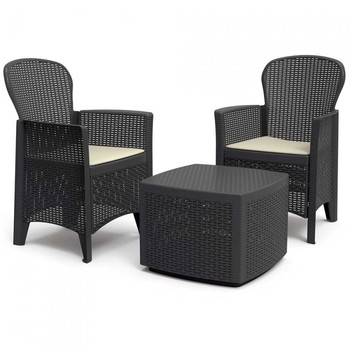 Set of garden table and 2 armchairs with cushions Tree anthracite Progarden