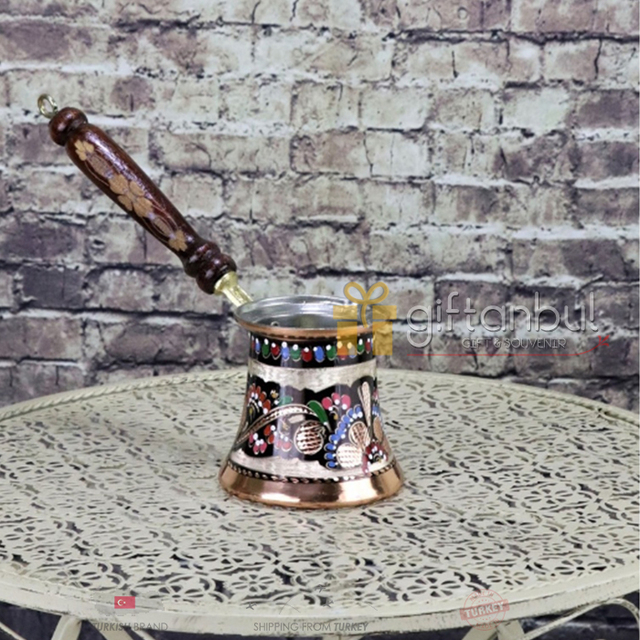 Fancy Ibrik Turkish Copper Coffee Pot Wood Handle  5