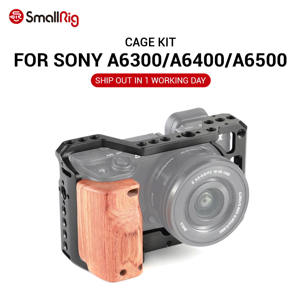 SmallRig A6400 Camera Cage Kit for Sony A6300   A6400   A6500 Camera With Wooden Handle Grip 1 4 3 8 Thread Hole for DIY Options