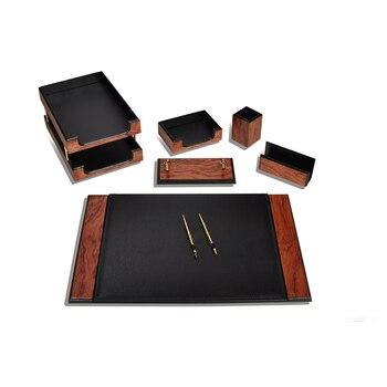 Luksusowy drewniany Prestige klasyczne biurko 8 sztuk Organizer na biurko organizator biurowy akcesoria biurowe podkładka na biurko piórnik