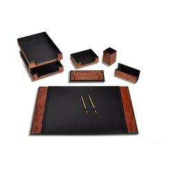 Luxus Holz Prestige Klassischen Schreibtisch Set 8 Stück Schreibtisch Veranstalter Büro Organizer Büro Zubehör Schreibtisch Pad Stift Fall Halter