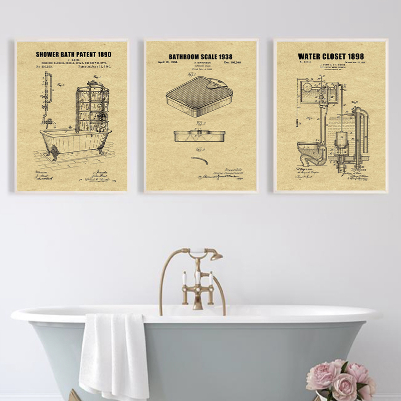 Bathroom Blueprints Vintage Posters And Prints Toilet Decor Water Closet Sign Wall Art Canvas Painting Bathroom Decoration Leather Bag