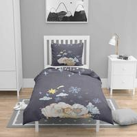 Mais 4 pçs azul marinho noites bonito lâmpadas nordec impressão 3d algodão cetim crianças capa de edredão conjunto cama fronha folha|Capa de edredom| |  -