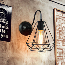 1Pc Vintage Industrial E27 Loft Wall Light Retro Wall-mounted Iron Lampshade Lighting Fixture (Without Bulb)
