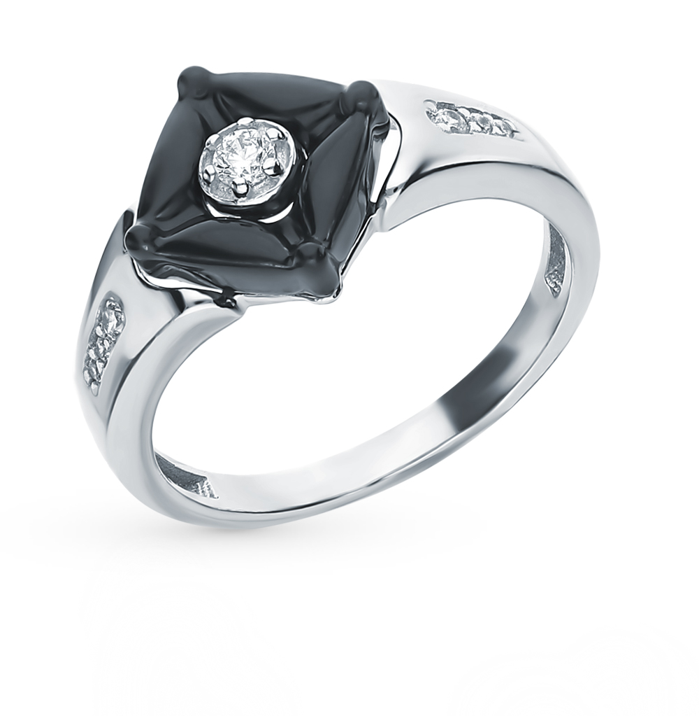 Silver Ring With Ceramics And Cubic Zirconia Sunlight Sample 925