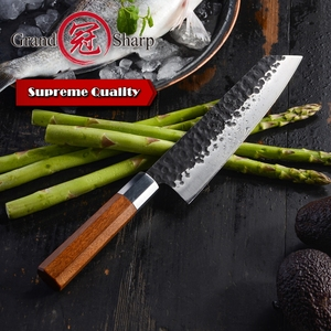 Image 3 - NEW 2019 GRANDSHARP Handmade Chef Knife Japanese Kiritsuke  Stainless Steel Slicing Kitchen Cooking Tools Wood Handle Gift Box
