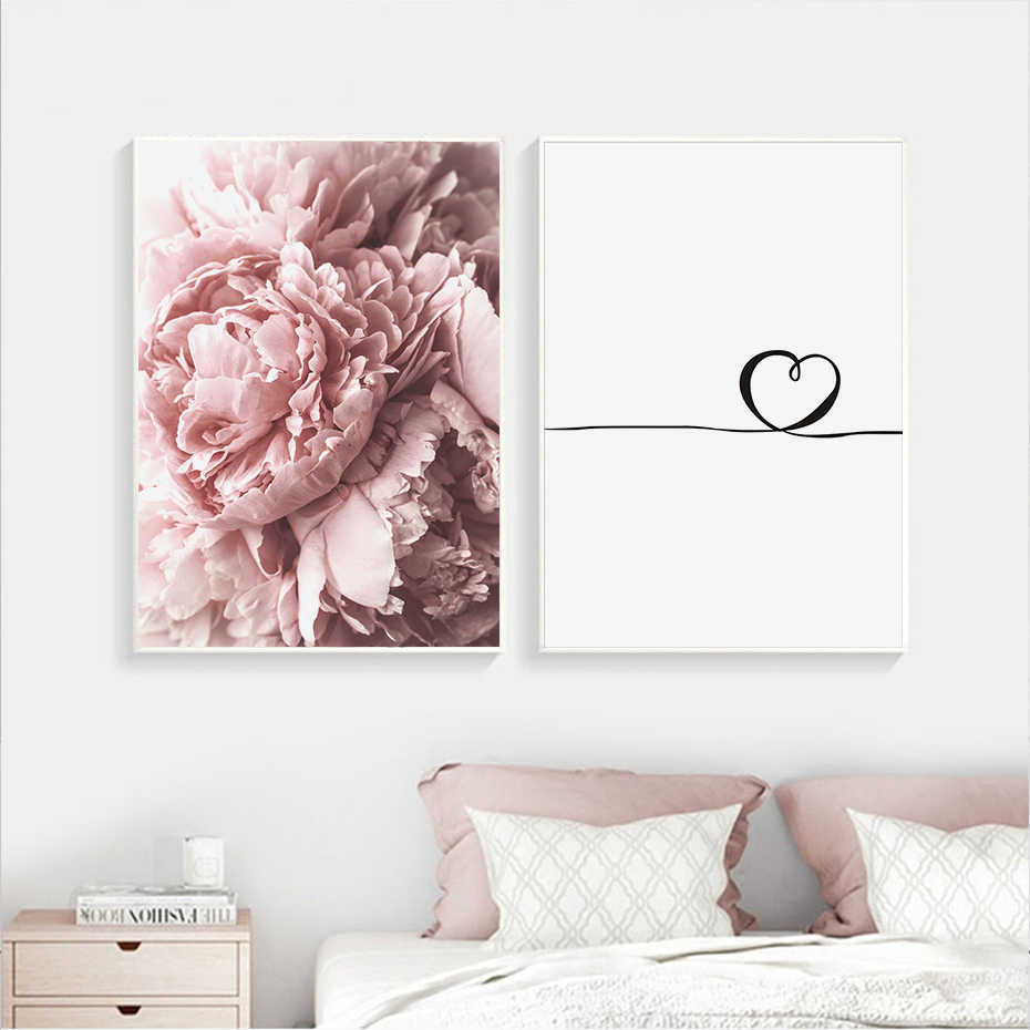 Modern Pink Peony Flower Minimalist Love Letter Canvas Paintings Poster Prints Nordic Wall Art Pictures for Bedroom Home Decor